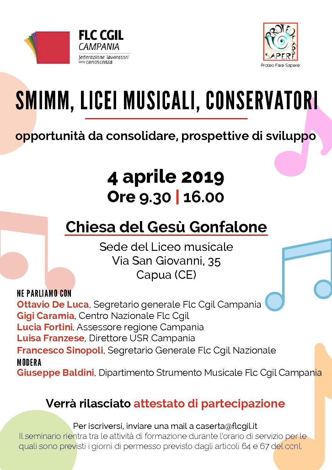 SMIMM, Licei musicali, Conservatori | Convegno a Capua, 4 aprile 2019